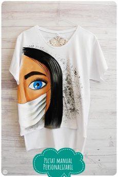 tricou corona pictat cu masca