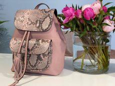 rucsac dama fashionable din piele naturala roz snake