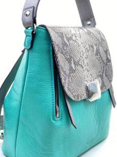 rucsac geanta tribal din piele naturala turcoaz