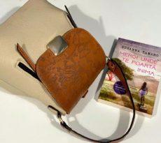rucsac geanta din piele naturala maro crem travel