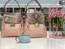 rucsac geanta din piele naturala roz snake