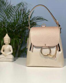 rucsac geanta din piele naturala nude sidef