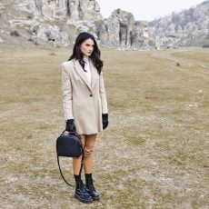 geanta dama incapatoare din piele naturala neagra bizonata
