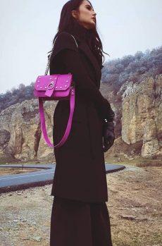 Poseta fashion din piele naturala roz cu tinte