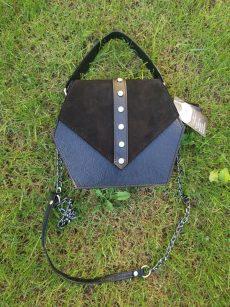 geanta hexagon din piele naturala neagra velur