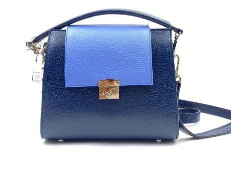 poseta dama eleganta din piele naturala albastra