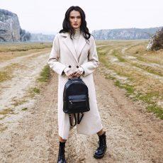 rucsac geanta dama din piele naturala neagra