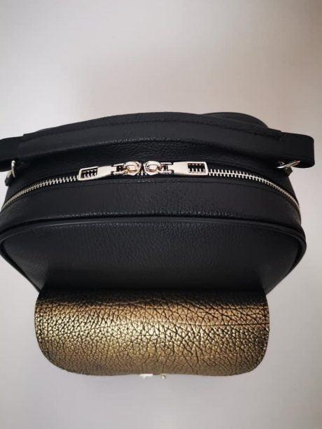 rucsac geanta dama din piele naturala neagra aramie