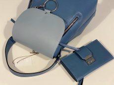set rucsac si portofel office din piele naturala albastru denim