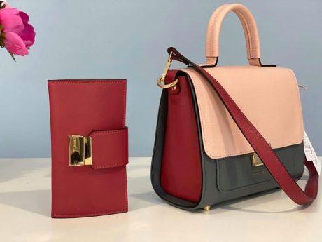 set geanta si portofel din piele naturala rosu roz gri