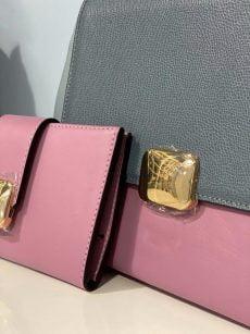 set geanta si portofel office din piele naturala roz gri bleu