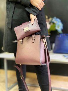 set office geanta si portofel din piele naturala roz sidefat