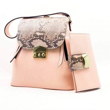 set rucsac si portofel office din piele naturala roz snake
