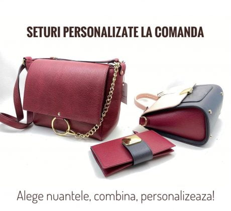 set geanta si portofel din piele naturala rosu burgundy