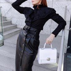 geanta patrata office din piele naturala alba
