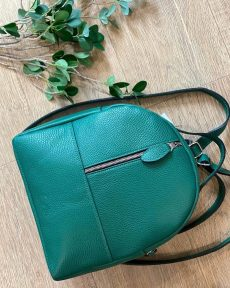 rucsac fashion din piele naturala verde smarald
