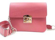 poseta patrata fashion din piele naturala roz