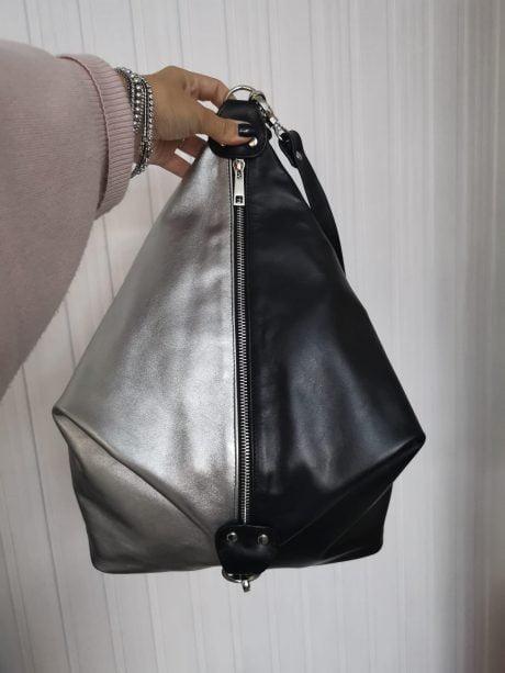 rucsac fashion din piele naturala negru argintiu