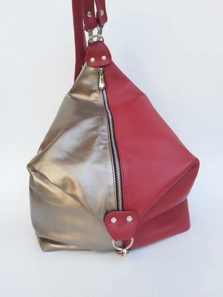 rucsac fashion din piele naturala rosu auriu