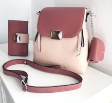 set dama rucsac si portofel din piele naturala roz prafuit plamaniu